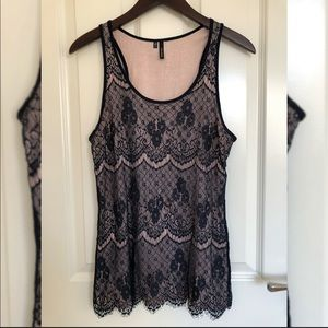 Navy Lace Overlay Tank, Maurices, Small